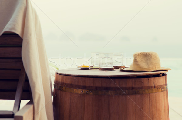 glasses of water with hat on barrel at hotel beach Stock photo © dolgachov