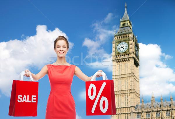 小さな 幸せ 女性 ショッピングバッグ ビッグベン 人 ストックフォト © dolgachov