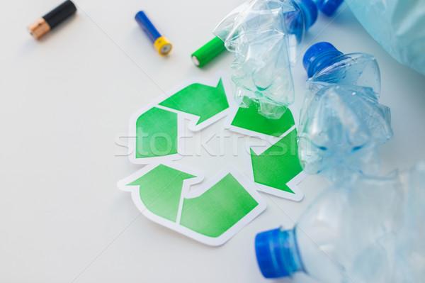 Stok fotoğraf: Kullanılmış · şişeler · geri · dönüşüm · atık