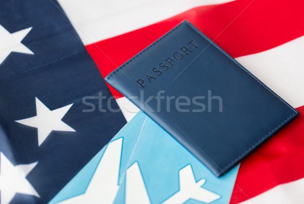 american flag, passport and air tickets Stock photo © dolgachov