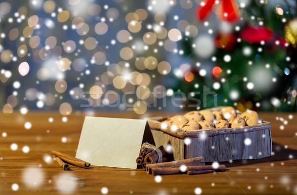 Natale avena cookies tavolo in legno vacanze Foto d'archivio © dolgachov