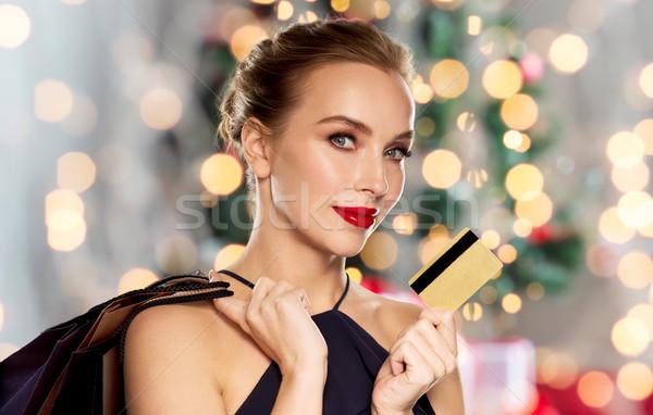 Stock fotó: Nő · hitelkártya · vásárlás · karácsony · emberek · luxus
