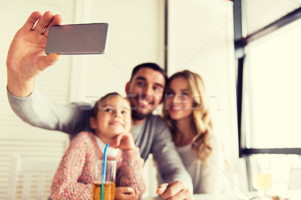 close up of family taking selfie at restaurant Stock photo © dolgachov