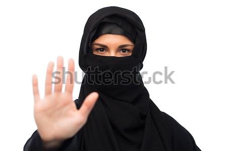 мусульманских женщину хиджабе белый религиозных люди Сток-фото © dolgachov