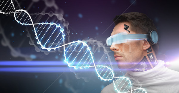 man with 3d glasses, sensors and dna molecule Stock photo © dolgachov