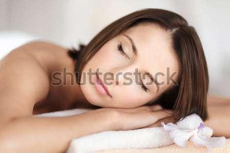 happy smiling girl lying awake in bed at home Stock photo © dolgachov