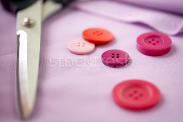 はさみ ミシン ボタン 布 裁縫 仕立て ストックフォト © dolgachov