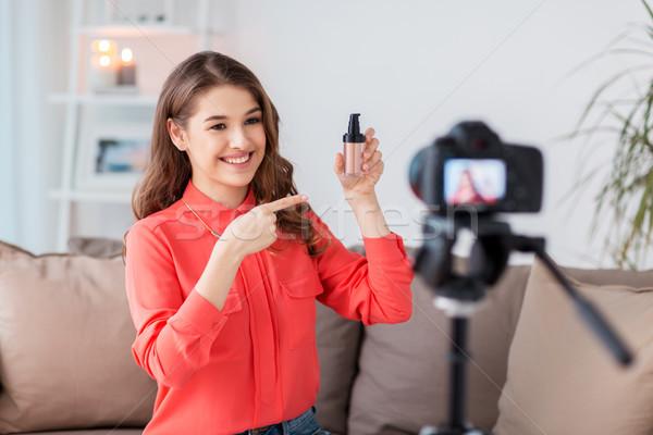 Mujer base cámara vídeo tecnología Foto stock © dolgachov