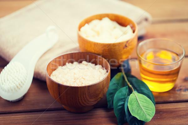 close up of himalayan pink salt and bath stuff Stock photo © dolgachov