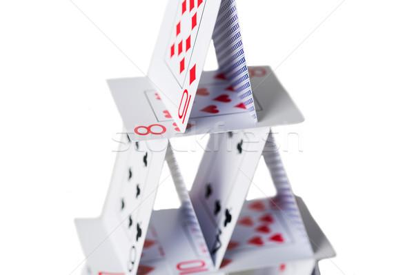 Casa cartas de jogar branco cassino jogos de azar jogos Foto stock © dolgachov