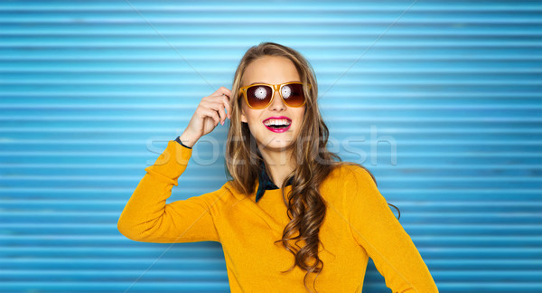happy young woman or teen girl in sunglasses Stock photo © dolgachov