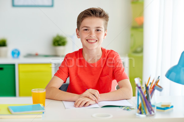 Boldog diák fiú ír notebook otthon Stock fotó © dolgachov