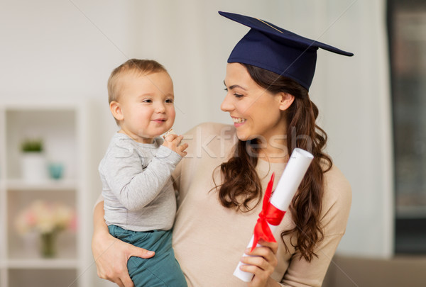 Moeder student baby jongen diploma home Stockfoto © dolgachov
