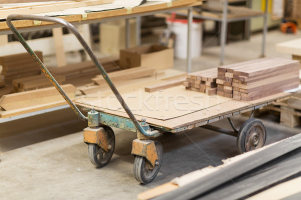 boards on loader at furniture factory workshop Stock photo © dolgachov