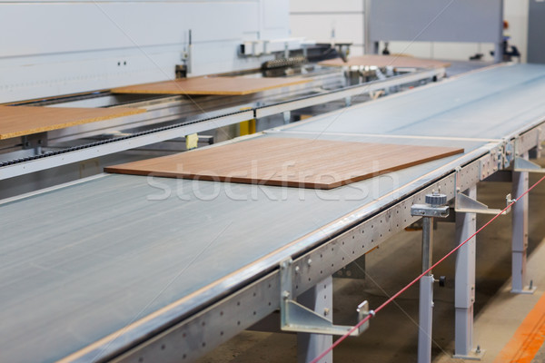 chipboards on conveyer at furniture factory Stock photo © dolgachov
