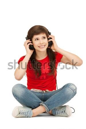幸せ 十代の少女 ビッグ ヘッドホン 画像 女性 ストックフォト © dolgachov