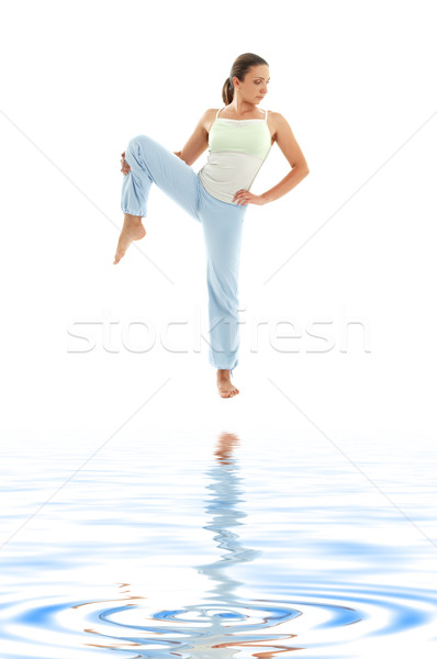 yoga standing on white sand #4 Stock photo © dolgachov