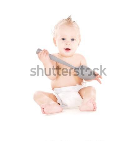 Foto stock: Bebê · menino · fralda · escova · de · dentes · quadro · saúde