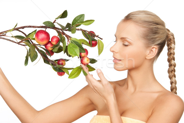 Femme pomme brindille photos visage vert Photo stock © dolgachov