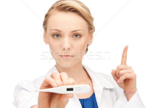 Mulher atraente médico termômetro quadro feminino Foto stock © dolgachov