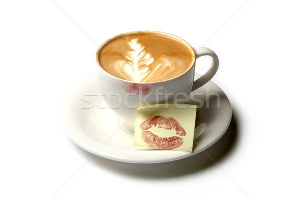 Matin baiser tasse barista café note Photo stock © dolgachov