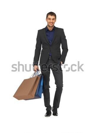 Bel homme costume photos homme heureux Photo stock © dolgachov