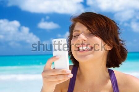Stockfoto: Vrouw · bikini · telefoon · mooie · vrouw · strand
