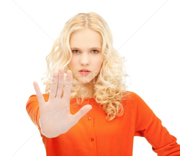 Menina pare gesto brilhante quadro Foto stock © dolgachov