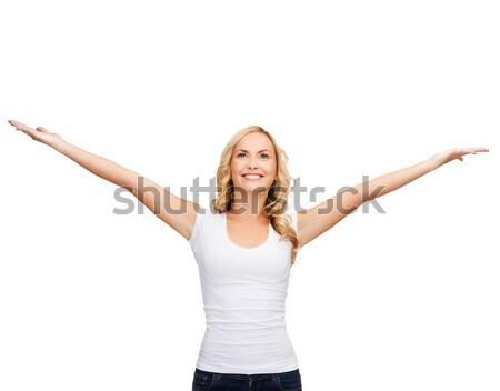 Mulher as mãos levantadas branco tshirt projeto harmonia Foto stock © dolgachov