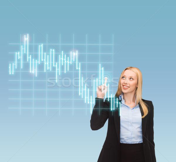 Gülen işkadını işaret forex grafik iş Stok fotoğraf © dolgachov
