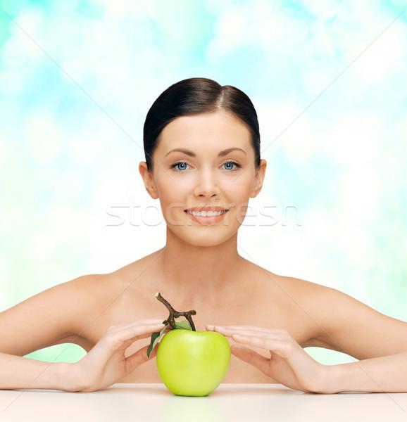 Stock foto: Schöne · Frau · grünen · Apfel · Schönheit · gesunde · Ernährung · Frau