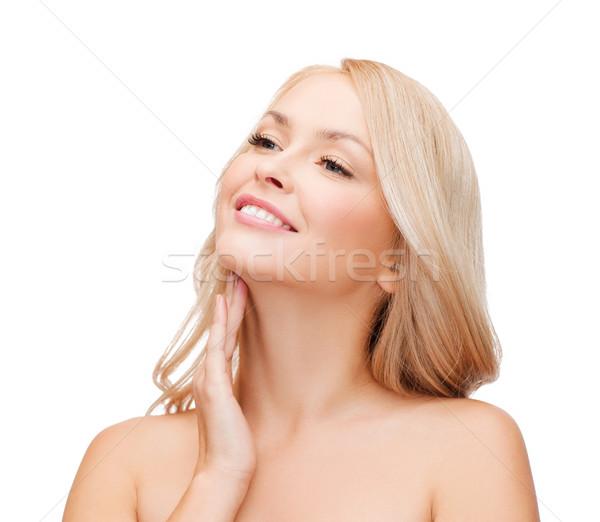 Zdjęcia stock: Kobieta · dotknąć · szyi · piękna · twarz · piękna · kobieta