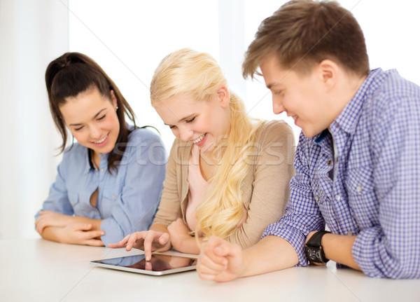 Glimlachend studenten computer school technologie Stockfoto © dolgachov