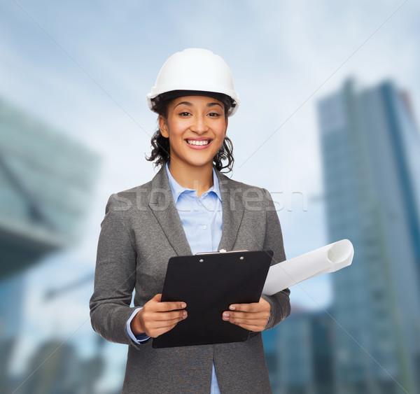 Zdjęcia stock: Kobieta · interesu · biały · kask · schowek · budynku · rozwój