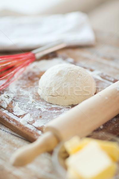 close up of bread dough on cutting board Stock photo © dolgachov