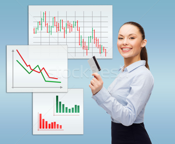 smiling businesswoman showing credit card Stock photo © dolgachov