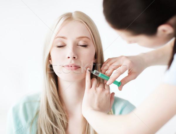 Hasta botox enjeksiyonu sağlık tıbbi plastik cerrahi hastane Stok fotoğraf © dolgachov