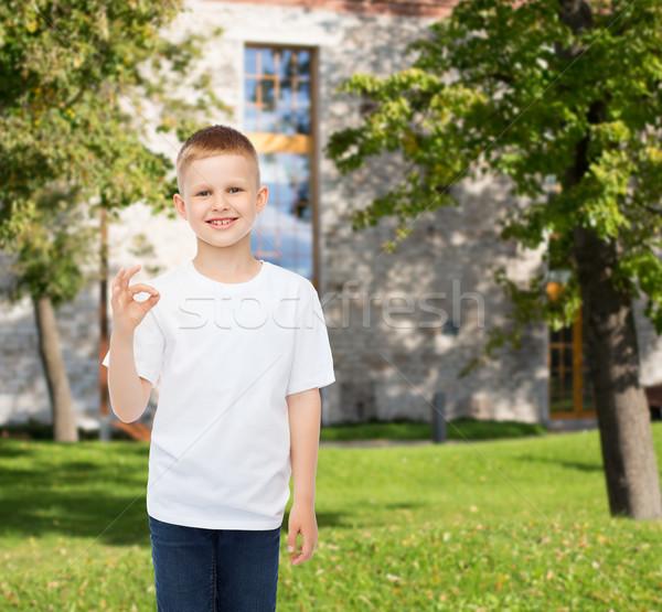 smiling little boy in white blank t-shirt Stock photo © dolgachov