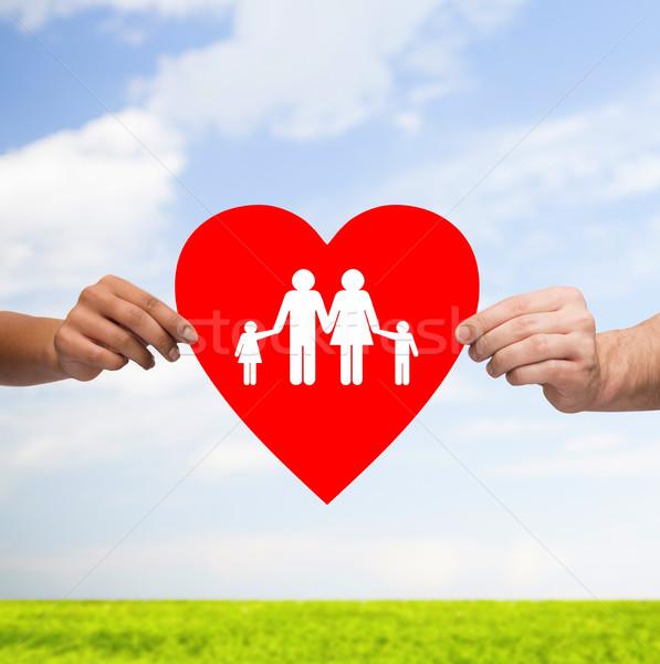 ストックフォト: カップル · 手 · 赤 · 中心 · 家族