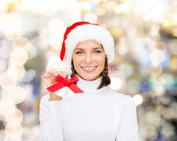 笑顔の女性 サンタクロース ヘルパー 帽子 クリスマス 休日 ストックフォト © dolgachov