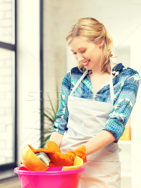 Ev kadını yıkama yemek mutfak resim güzel Stok fotoğraf © dolgachov