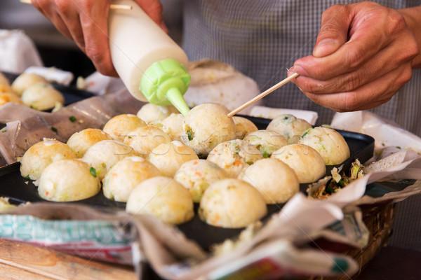 Кука начинка риса улице рынке Сток-фото © dolgachov