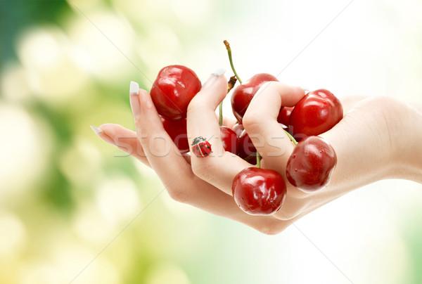 Сток-фото: женщины · стороны · полный · красный · вишни · люди