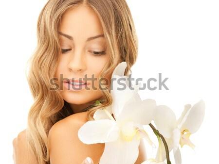 Mujer hermosa flor blanca Foto mujer nina sexy Foto stock © dolgachov