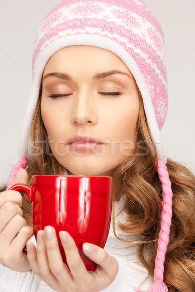 Bella donna rosso mug foto donna bellezza Foto d'archivio © dolgachov