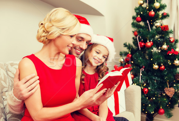 smiling family reading book Stock photo © dolgachov