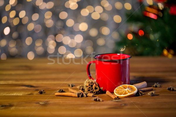 tea cup with winter spices on wooden table Stock photo © dolgachov