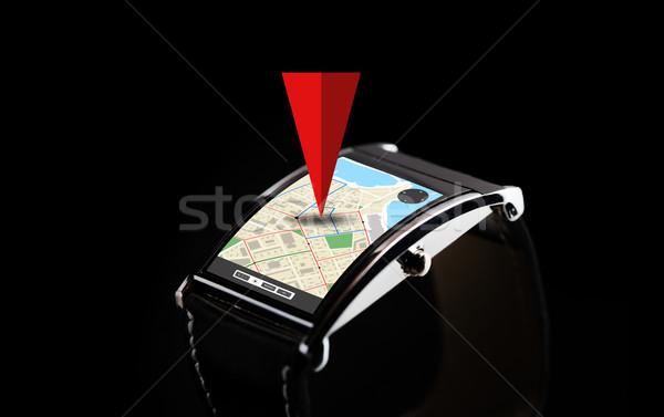 Negro inteligentes ver GPS moderna Foto stock © dolgachov