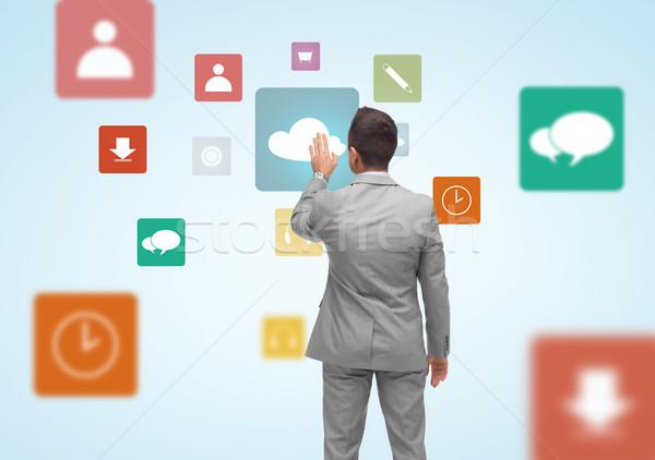 Affaires projection médias icônes gens d'affaires Photo stock © dolgachov