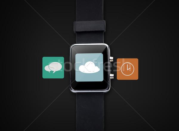 Stockfoto: Smart · horloge · toepassing · iconen · moderne